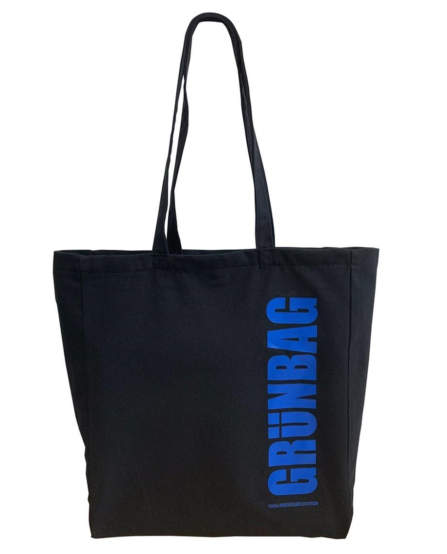 Sort GRÜNBAG Tote blåt logo-04
