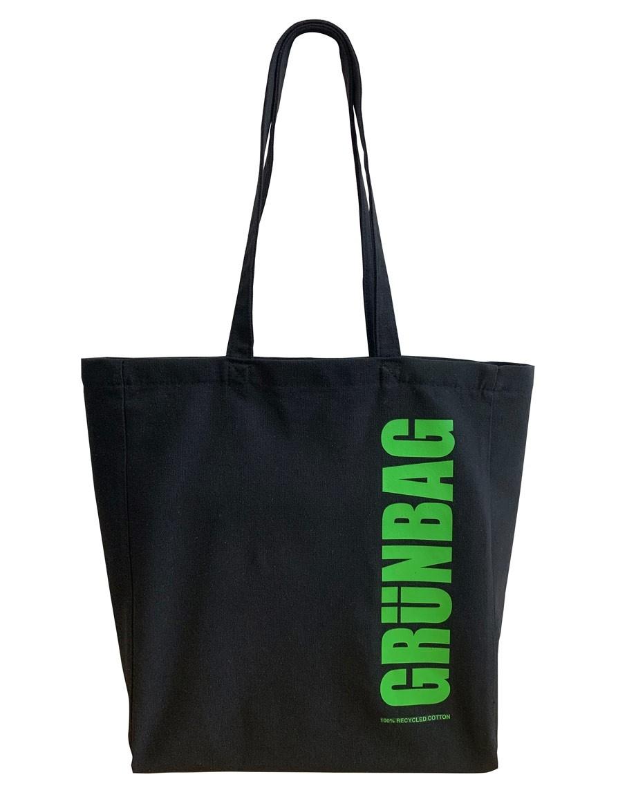 Sort GRÜNBAG Tote grønt logo-05