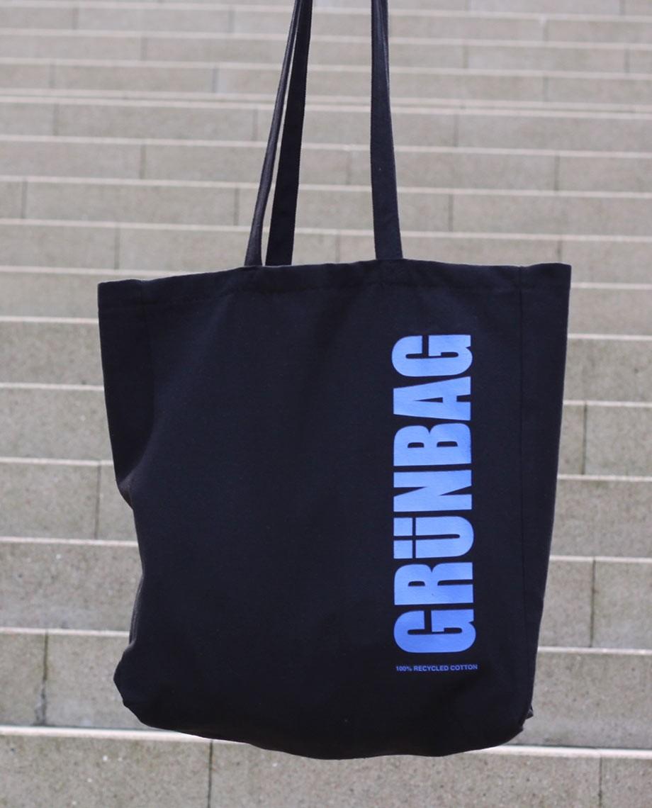 Sort GRÜNBAG Tote - blåt logo