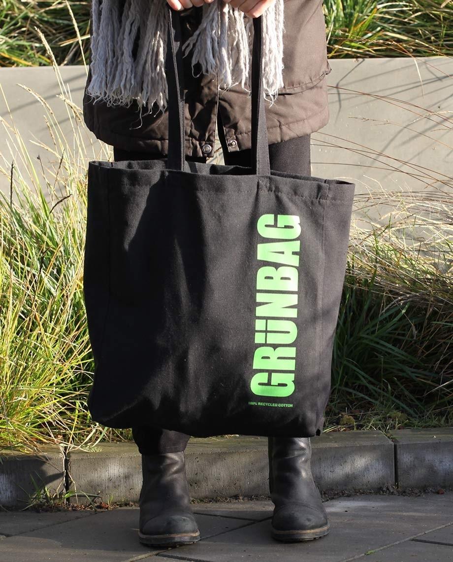 Sort GRÜNBAG Tote - grønt logo